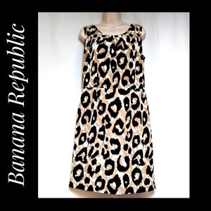 Banana Republic Animal Print Sheath Dress Size 10